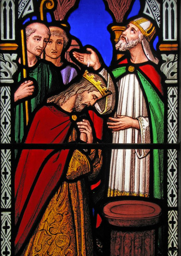 Stained glass depiction of King Cynegils baptism