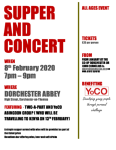 YoCO Supper and concert @ Dorchester Abbey